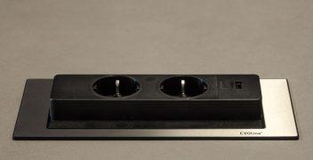 EVOline Backflip Steckdose mit USB (offen)