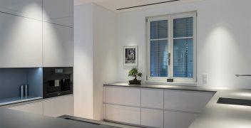 Küchenarbeitsfläche und Nischenrückwände aus pflegeleichter, robuster High-Tech Keramik VidroStone (VS017 smoke PURE)
